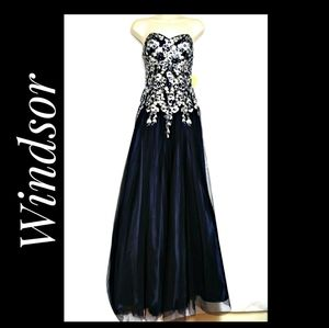 Windsor Prom Special Occasion Gown Navy Silver